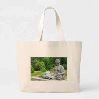 Bronze statue depicting woman large tote bag