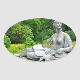 Bronze statue depicting woman oval sticker
