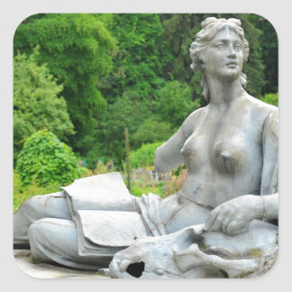 Bronze statue depicting woman square sticker