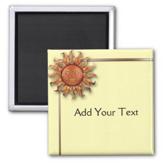 Bronze Sun on Cream Background Magnet