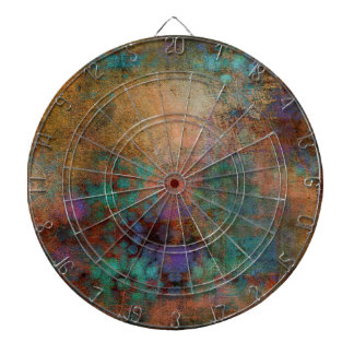 Bronze, Teal, Purple Abstract Dartboard