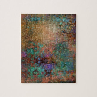 Bronze, Teal, Purple Abstract Jigsaw Puzzle