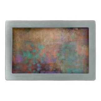 Bronze, Teal, Purple Abstract Rectangular Belt Buckle
