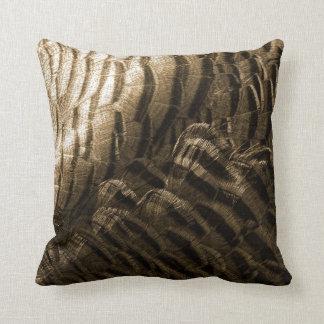Bronze Tone Turkey Feathers Photo Neutral Throw Pillow