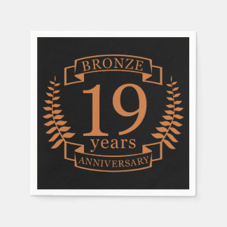 Bronze traditional wedding anniversary 19 years paper napkins