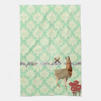 Bronze Vintage Llama & Butterfly Mint Julep Damask Kitchen Towel
