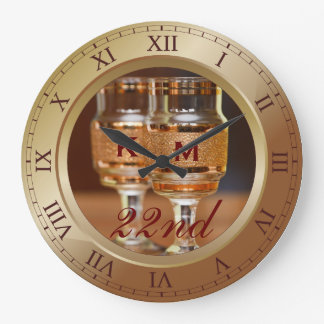 Bronze Wedding Anniversary Copper Gold Brown Photo Wall Clocks
