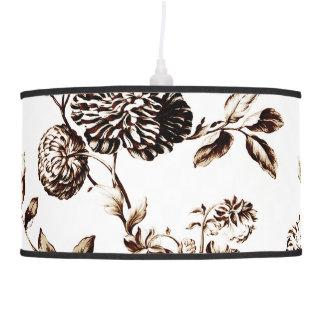 Bronze & White Vintage Botanical Floral Toile No.2 Hanging Lamp