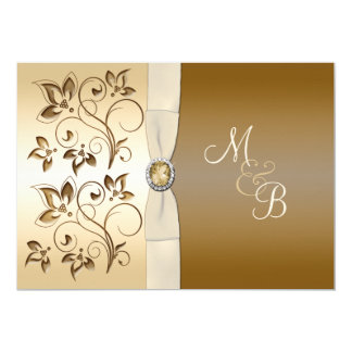 Bronze with Ivory Ribbon Monogrammed Invitation