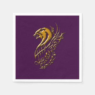 Bronze Wolf Purple Napkins Paper Napkin