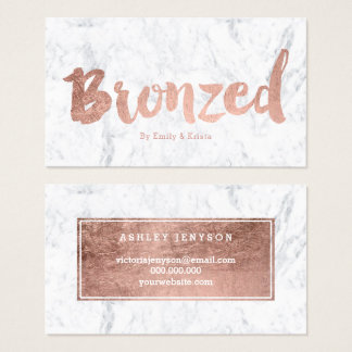 Bronzed logo modern rose gold typography marble business card