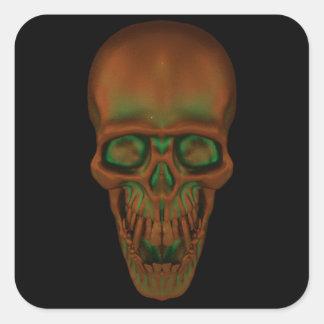 Bronzed Skull Square Sticker