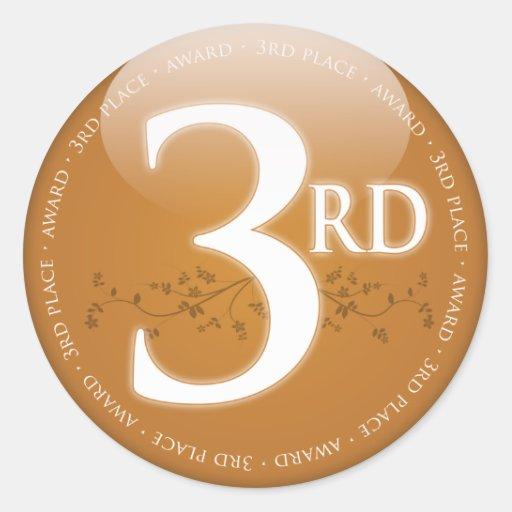 Bronzez la troisième 3ème) récompense d'endroit ( autocollants ronds