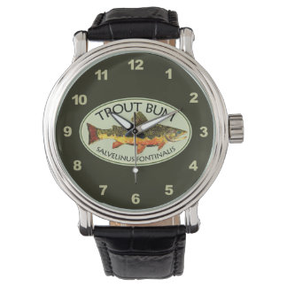 Brook Trout Bum Humorous Fly Fishing Wristwatches