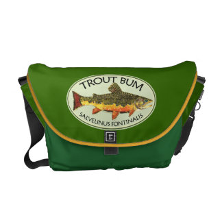 Brook Trout Fish Painting Messenger Bags