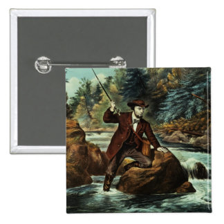 Brook Trout Fishing - An Anxious Moment, 1862 2 Inch Square Button