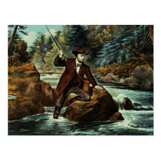 Brook Trout Fishing - An Anxious Moment, 1862 Postcard