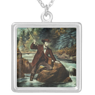 Brook Trout Fishing - An Anxious Moment, 1862 Silver Plated Necklace
