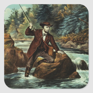 Brook Trout Fishing - An Anxious Moment, 1862 Square Sticker