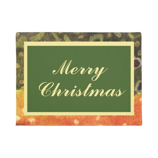 Brook Trout Fly Fishing Christmas Welcome Doormat