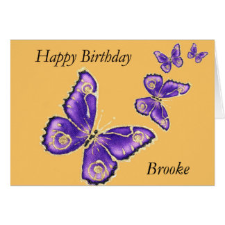 Brooke, Happy Birthday purple butterfly card