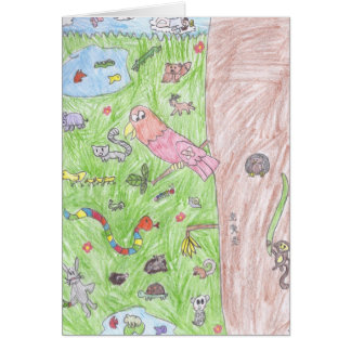 Brooke's world of animals greeting card