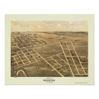 Brookfield, MO Panoramic Map - 1869 Poster