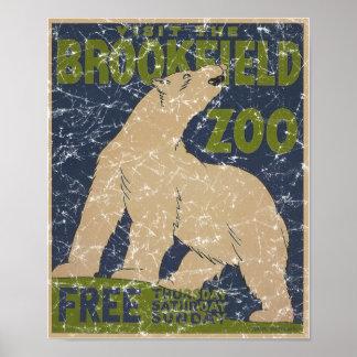 Brookfield Zoo-Polar Bear-distressed Poster