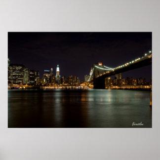 Brooklin Bridge at Night (Print) Poster