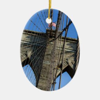 Brooklyn Bridge 02 Ceramic Oval Ornament
