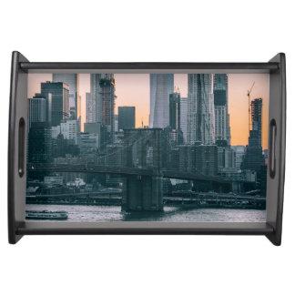 Brooklyn Bridge and downtown Manhattan New York Serving Tray