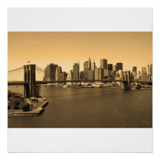 Brooklyn Bridge and Manhattan Poster