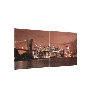 Brooklyn Bridge and Manhattan Skyline At Night, Canvas Print