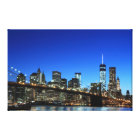 Brooklyn Bridge and Manhattan Skyline At Night, Ne Canvas Print