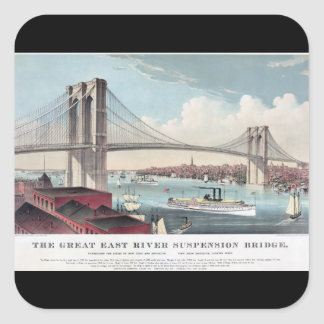 Brooklyn Bridge and Vintage Print Square Sticker