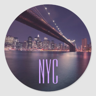 Brooklyn Bridge at Night, Manhattan Lights, NYC Classic Round Sticker