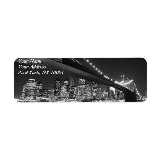 Brooklyn Bridge at Night, New York City Return Address Label