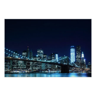 "Brooklyn Bridge at Night Poster (30.00"" x 20.00"")"