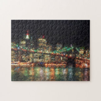 Brooklyn Bridge At Night Puzzle