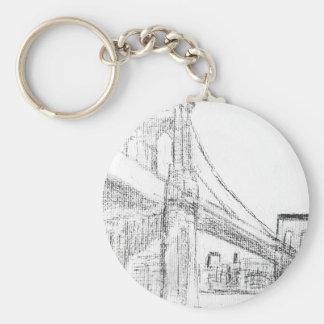 Brooklyn Bridge Basic Round Button Keychain