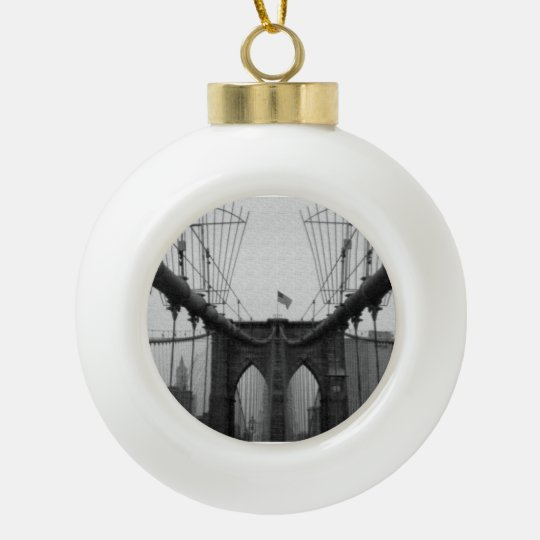 Brooklyn Bridge black and white Ornament Christmas
