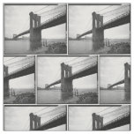 Brooklyn Bridge Black and White Photograph Fabric