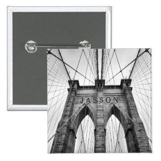 Brooklyn Bridge Black & White Photo 2 Inch Square Button