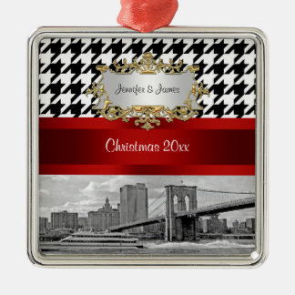 Brooklyn Bridge Blk Wht Houndstooth Christmas Metal Ornament