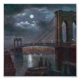 Brooklyn Bridge by Moonlight Poster