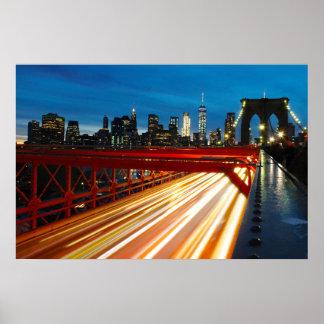 Brooklyn Bridge by Night Poster