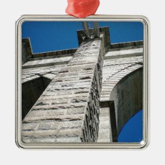 Brooklyn Bridge Close-up Silver-Colored Square Ornament