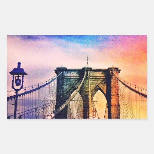 Brooklyn Bridge - Colorful - New York City Rectangular Stickers