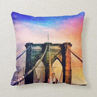 Brooklyn Bridge - Colorful - New York City Throw Pillow
