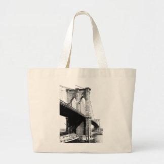 Brooklyn Bridge Ferry Boats 1896 Large Tote Bag